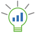 Lifecycle Insights lightbulb logo with a bar graph as the filament in the lightbulb