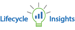 lifecycle insights logo with lightbulb having bar graph as filament