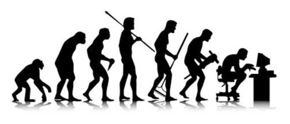 evolution of mankind from hunched over to upright to hunched over at a computer
