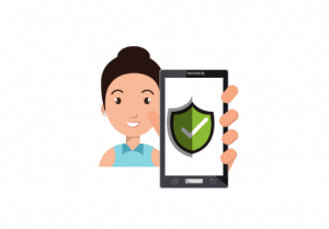 cartoon image of lady holding cell phone with shield as protection
