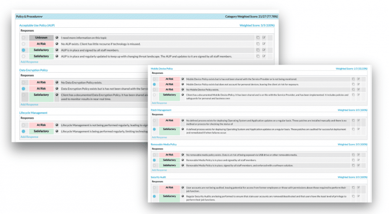 screenshot of policy assessment from lifecycle insights